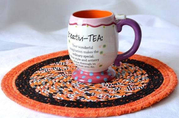 "Halloween Decoration, Handmade Halloween Trivet, 12"" Homemade Place Mat, Lovely Black and Orange Table Topper, Hot Pad"