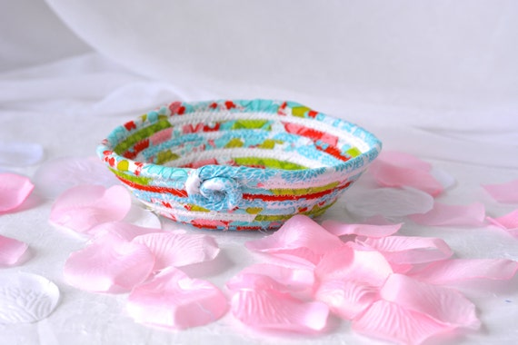 Handmade Ring Holder, Decorative Red and Aqua Basket, Lovely Turquoise Key Tray, Cute Desk Accessory Bowl, Candy Dish, Ring Tray