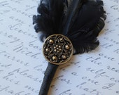SPECIAL ORDER  for Whitney Kimmel   DUSTIN (8) Art Deco Black Goose Feather with Antiqued Black and Gold Button Detail Boutonniere