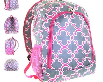Personalized  Girls QUATREFOIL  Backpack  Pink and Grey Quatrefoil