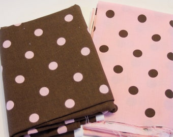 Brown with Pink Polka Dot/ Pink with Brown Polka Dot Yardage by Cranston Village