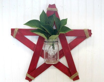 Handmade Rustic Red Wood Star Mason Jar Wall Vase