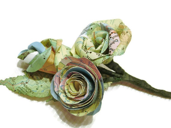 vintage map atlas paper rose and bud boutonniere for groom, wedding, formal occasions
