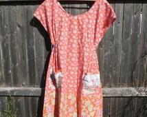 Prairie Dress - Orange with Flower Print - Cotton