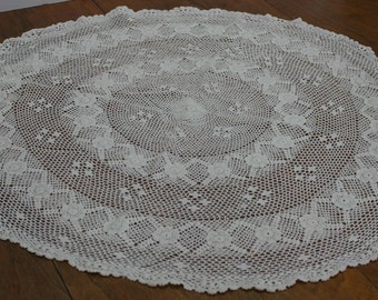 Large Round Handmade Crochet Doily Tablecloth White Cotton 29 Inch Diameter
