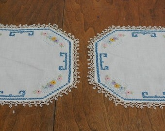 Set of 2 Vintage Handmade Embroidered Doilies Tatted Edge