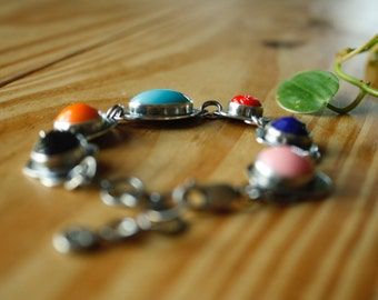 Vintage Glass Cabochon Bracelet in Fine and Sterling Silver—Ready-to-Ship