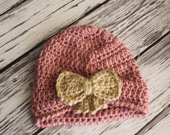 Baby Girl Turban Hat,  Crochet Baby Hat - Boho Baby Hat - Crochet Baby Turban - Crochet Baby Girl Hat - Baby Photo Prop - by JoJo's Bootique
