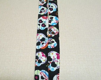 Fabric Lanyard, Day of the Dead skulls, Dia de Los Muertos
