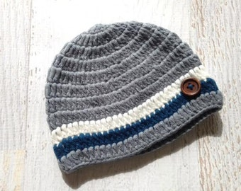 Grey and Navy Blue Striped Beanie Hat For Baby