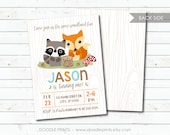 "Woodland Birthday Party Invitation, Wood Forest Baby Shower, Critters Fox, Raccoon, Personalized Digital Printable 4x6"" or 5x7"""
