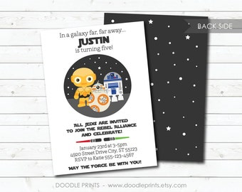 Star Wars Birthday Invitation, Droids BB8 R2D2 C3PO Inspired Invitation, Customized Printable Invitation Party, Galaxy, 5x7 or 4x6""