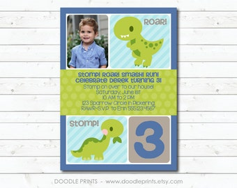Dinosaur Birthday Party Invitation, Picture Invitation, Dinosaur Printable Invitation, Boy Birthday Party, Personalized, T Rex Dinosaurs