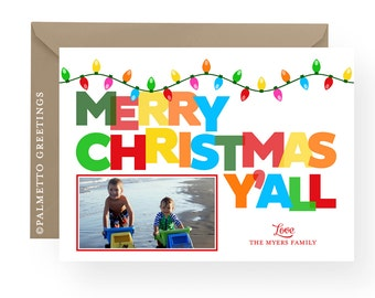PRINTABLE - Merry Christmas Y'all Colorful Southern Slang Holiday Photo Card with Festive Christmas String Lights and Bold Typography