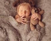Teddy Bear Bonnet, 3-6m, Need by 10/29
