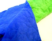 Quilted Flannel Fabric, Lime Green Flannel, Royal Blue Flannel, Reversible Quilted Sewing Material, 1 yd Remnant