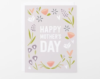 Mother's Day Card | Happy Mother's Day Floral Bloom Greeting Card | Purple