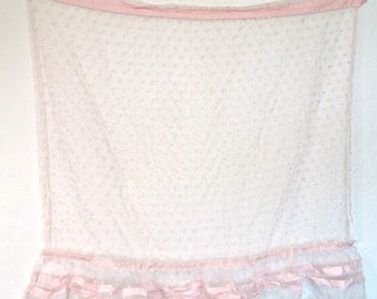 Vintage Curtain Panel | Pink Polka Dot Window Coverings