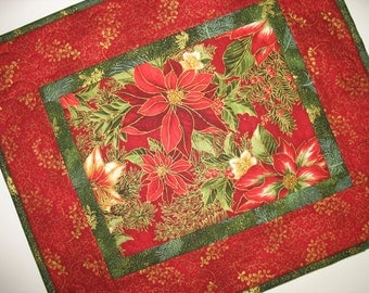 Christmas Table Topper with Poinsettias Lillies from Kaufman Flourish 7 and Hoffman