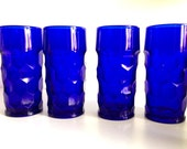 Vintage Cobalt Blue Georgian Paden City Glasses