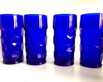 Vintage Cobalt Blue Georgian Paden City Glasses
