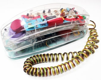 Vintage Unisonic Clear Telephone 1980s Model 6900 Land Line Home Phone See Through Skeleton