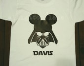 Mickey Vader Shirt with customized name Mickey Inspired Star Wars Shirt Disneyland Disney World Ears - TODDLER sizes