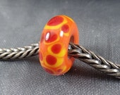 BHB, Big Hole Bead, Handmade Lampwork Glass Bead, with or without silver 925 core, 6.4x14mm