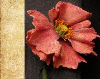 "Felted  Flower Brooch DIY Kit No.2 / ""Opium"""