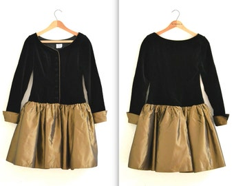 Vintage 80s Prom Dress Black and Gold Metallic XS Small// 80s 90s does 50s Party Dress// Black Velvet Gold Crinoline Dress Laura Ashley