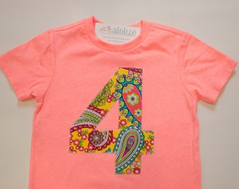 Girl 4th Birthday Tee, I am 4 Tshirt, Coral Pink, Short Sleeve, Yellow Paisley Neon, Applique Number 4, 4T, Ready to Ship, Bright Colors