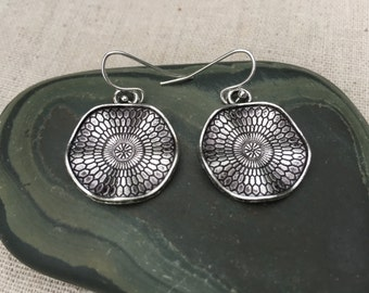 Silver Dangle Drop Earrings - Boho Chic - Moroccan - Wavy Disc Silver Earrings - Simple Everyday Earrings