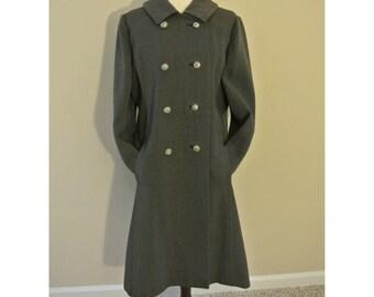 SALE 1960s L/XL Classic Chic Grey Vintage Coat