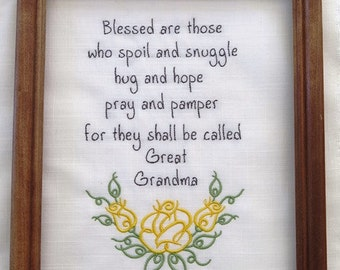 UNFRAMED Great Grandma Embroidery