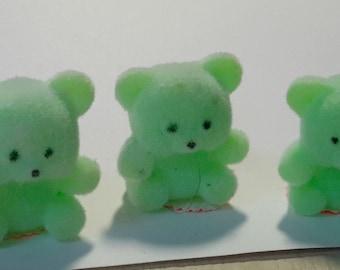 """3 mini FLOCKED BEARS light green soft velvety feel 1 1/2"""""""