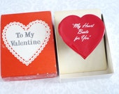 """Vintage Beating Heart Novelty Gift  Kitsch 1957 """"My Heart Beats for You""""  /  Vintage Valentine Mechanized Beating Heart Gift for Him or Her"""