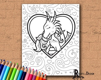 INSTANT DOWNLOAD Coloring Page - Dragon and Unicorn in Love Print, doodle art, printable, Kawaii