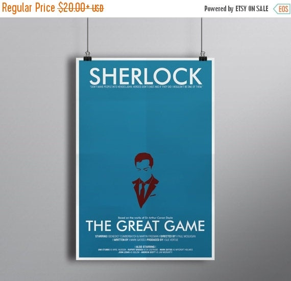 GEEKLOVE SALE The Great Game, Minimalist Alternative Literature Poster // Typography and Moriarty Silhouette with Credits