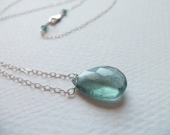Blue Aquamarine Gemstone Handmade Necklace Wire Wrapped with Sterling Silver