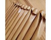 "12 pcs 6"" Bamboo Handle Crochet Hook Craft 3-10mm"
