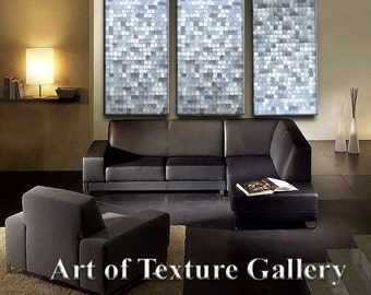HUGE 48 x 108 Inches Abstract Textured Painting Custom Original Heavy Metallics White Silver Gray Charcoal Pewter Black Oil by Je Hlobik