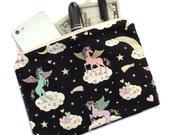 Unicorn makeup bag, cosmetic pouch, pencil pouch, pencil bag, kawaii clutch, pegasus, flying horse, cute, kawaii unicorn bag