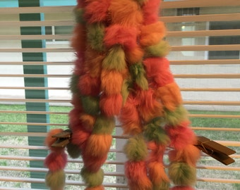 Long Fur scarf/fur balls knit together/pink and green