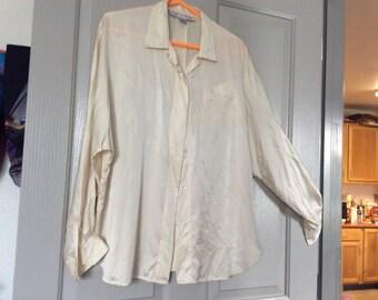 Silk satin blouse longsleeve medium/Charmuese shirt/Smith and Watson England button front