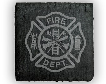 Coasters Slate Square Set of 4 - 2384 Fire Dept
