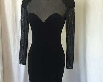 1990 Little Black Dress / Size Vintage 6 / 1980's, 90's / Knit dress with sheer top and sleeves, rhinestones, soutache detailing / Hipster