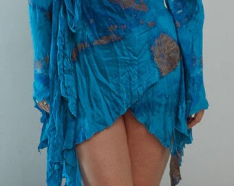 sexy ocean blue plus size wrap blouse mini dress mother of the bride beach wedding dress custom order