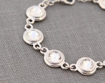 April Birthday Gift, April Diamond Jewelry, April Birthstone  Bracelet, Silver Rhinestone Jewelry