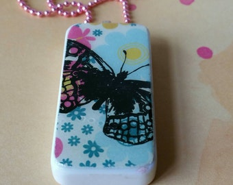 Domino Pendant Butterfly Floral Pink Ball Chain
