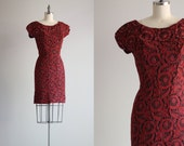 SALE - Vintage Dress . Retro Red Lace Dress . 1950s Wiggle Dress